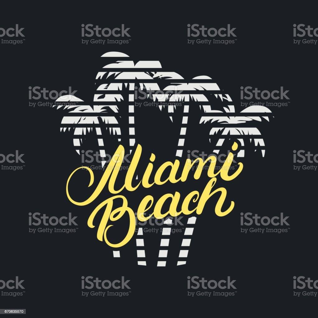 Miami Beach Hand Geschriebenen Schriftzug Mit Palmen Für Tshirt ...