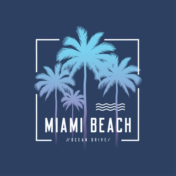 Miami beach Ocean Drive tee print with palm trees, t shirt design, typography, poster. Miami beach Ocean Drive tee print with palm trees, t shirt design, typography, poster, vector illustration. miami stock illustrations