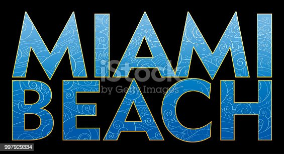 Miami Beach text for t-shirt and apparel vector design, print, typography, poster, emblem with sea waves.