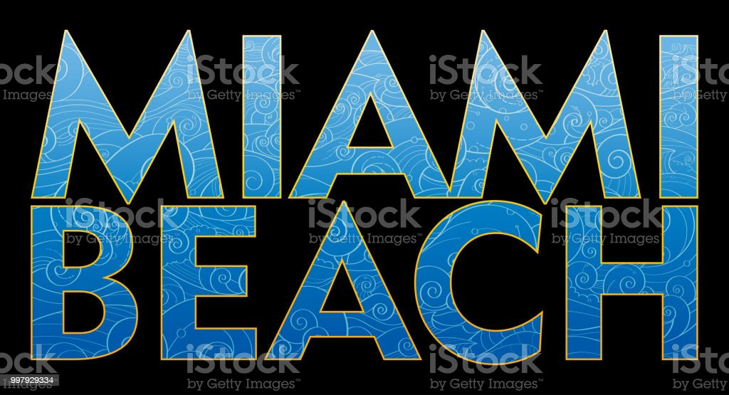Miami Beach text vector art illustration