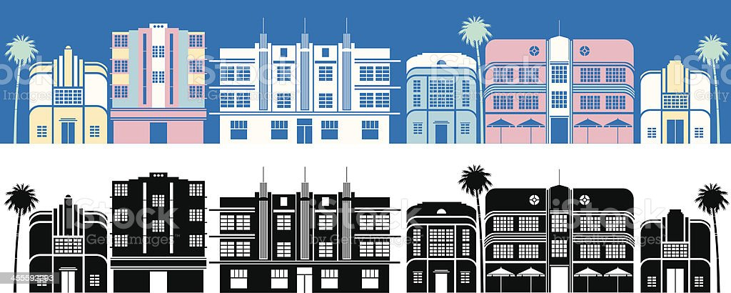 Miami Buildings vector art illustration