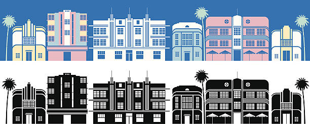 Miami Buildings A colour and black and white set of Miami Art deco buildings. Click below for more travel images. miami stock illustrations