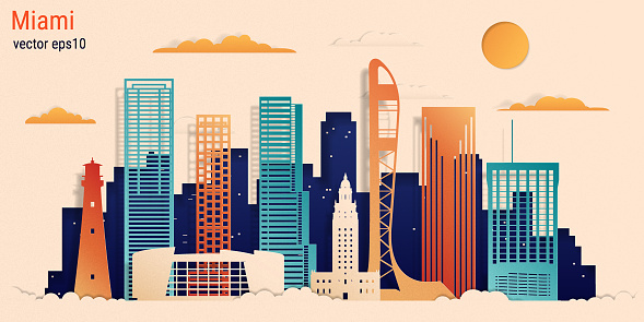 Miami city colorful paper cut style, vector stock illustration