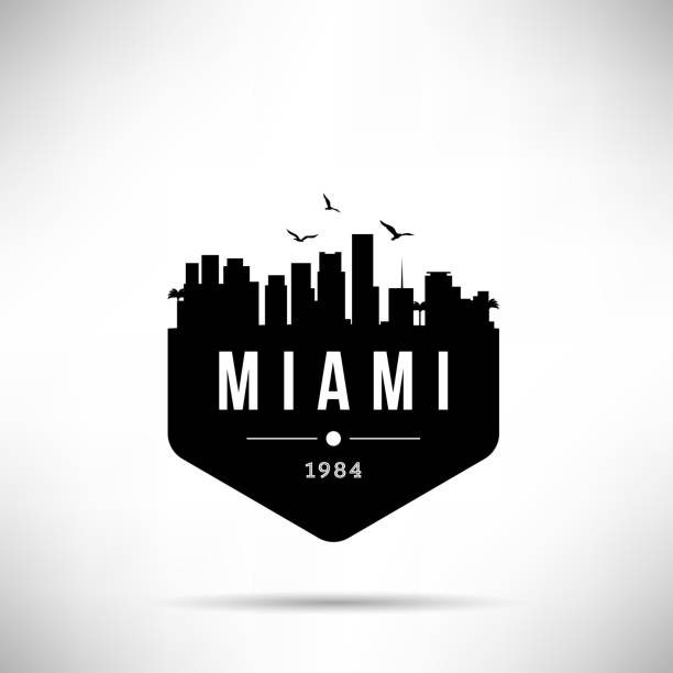 Miami City Modern Skyline Vector Template Miami City Modern Skyline Vector Template miami stock illustrations