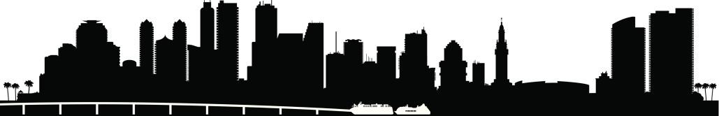 Miami city skyline silhouette background