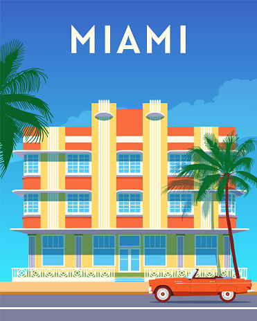 Miami city travel retro poster, sunny day in Art Deco District. Summer Florida vintage banner. Hand drawn flat vector illustration.