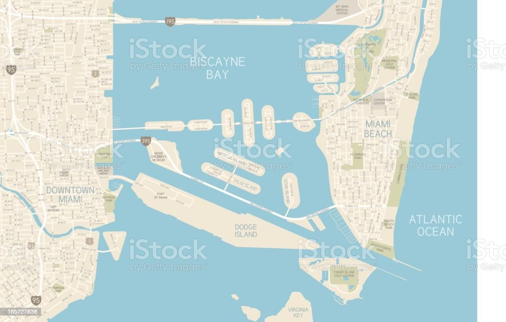 Miami Downtown Map Stock Vector Art More Images of American