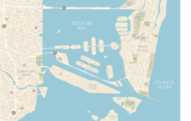 Miami Downtown Map A detailed map of downtown Miami and Miami Beach. Includes highways, freeways, roads, docks, as well as parks, golf courses and points of interest, all on separate layers. Includes CS3 file and an extra-large JPG.  miami stock illustrations