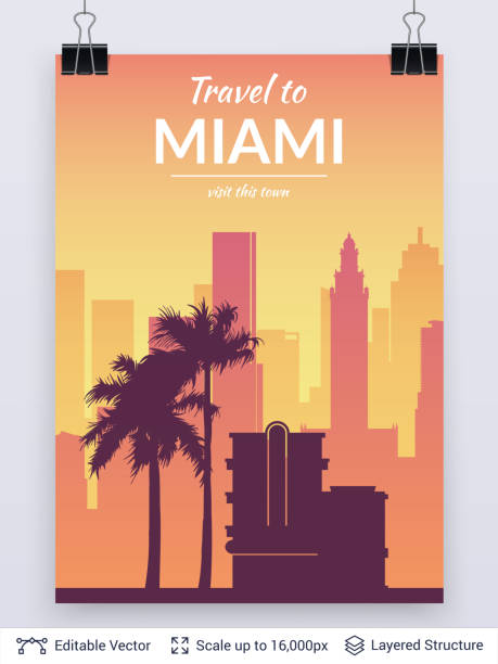 Miami famous city scape. Flat well known silhouettes. Vector illustration easy to edit for flyers, posters or book covers. miami stock illustrations