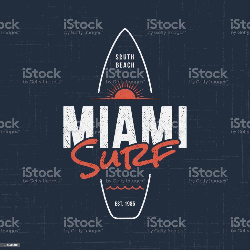 Miami Florida Surf Tshirt And Apparel Design Stock Vector Art More