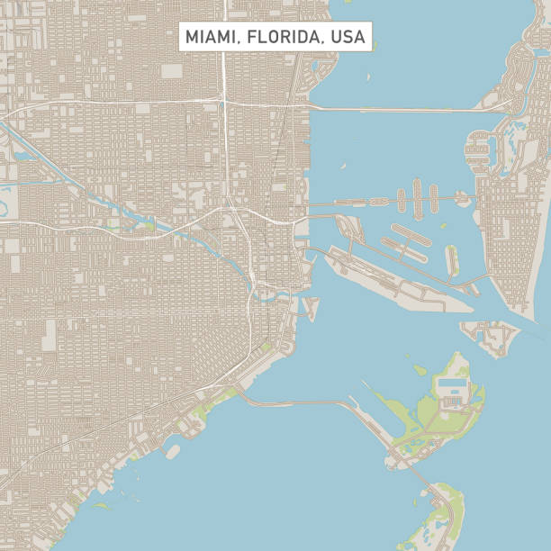 Miami Florida US City Street Map Vector Illustration of a City Street Map of Miami, Florida, USA. Scale 1:60,000. All source data is in the public domain. U.S. Geological Survey, US Topo Used Layers: USGS The National Map: National Hydrography Dataset (NHD) USGS The National Map: National Transportation Dataset (NTD) miami stock illustrations
