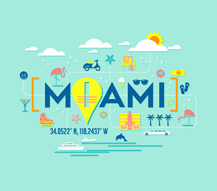 Miami, Florida vector design of attractions icons, and typography.