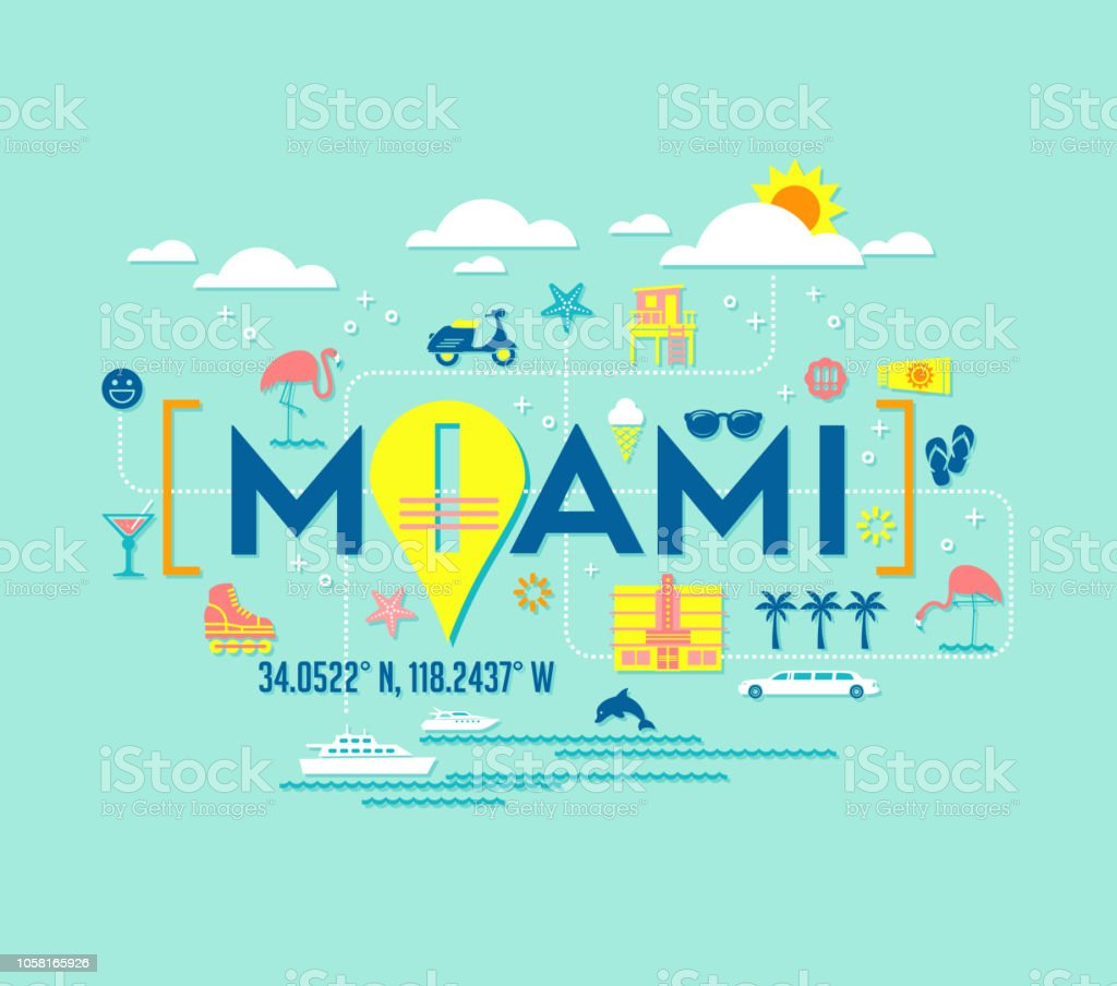 Miami, Florida vector design of attractions icons, and typography. vector art illustration