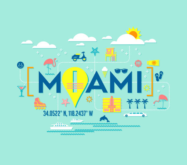 Miami, Florida vector design of attractions icons, and typography. Miami, Florida vector design of attractions icons, and typography. For t-shirts, cards, banners, posters. miami stock illustrations