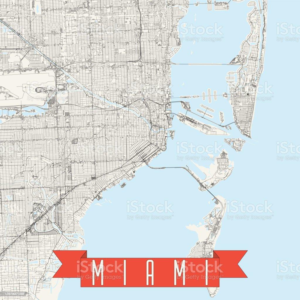 miami florida vector map stock illustration - download