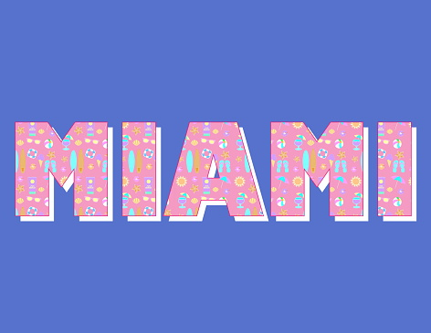 Miami font design with beach elements.