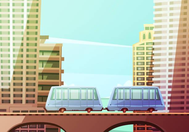 cartoon of miami skyline illustrations, royalty-free