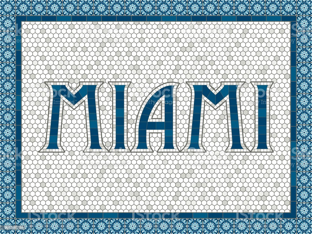 Miami Old Fashioned Mosaic Tile Typography vector art illustration