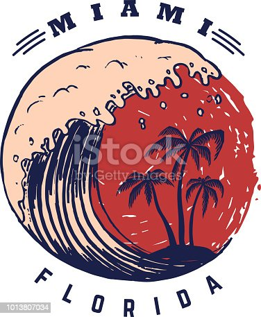 Miami. Poster template with lettering and palms. Vector image