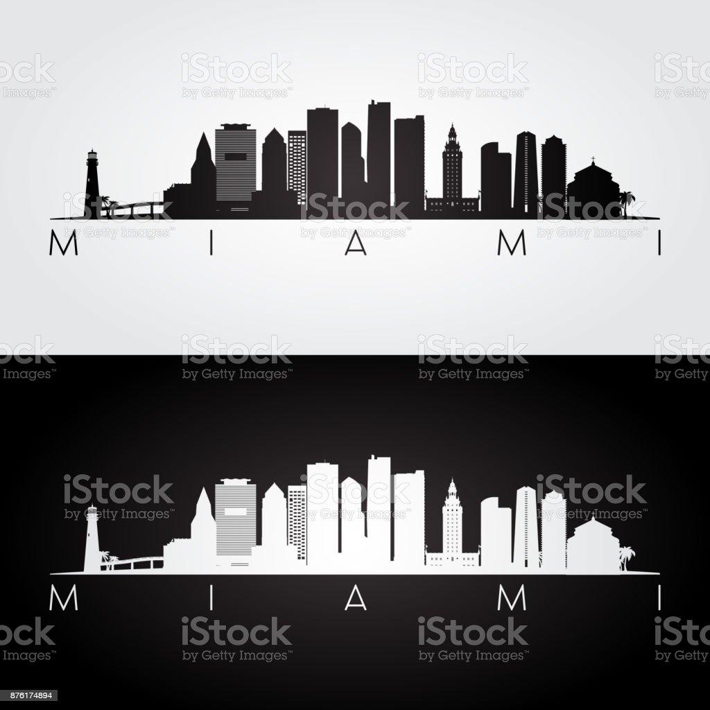 Miami Skyline Und Wahrzeichen Silhouette Schwarz Weiß Design Stock ...