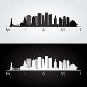 Miami skyline and landmarks silhouette, black and white design.