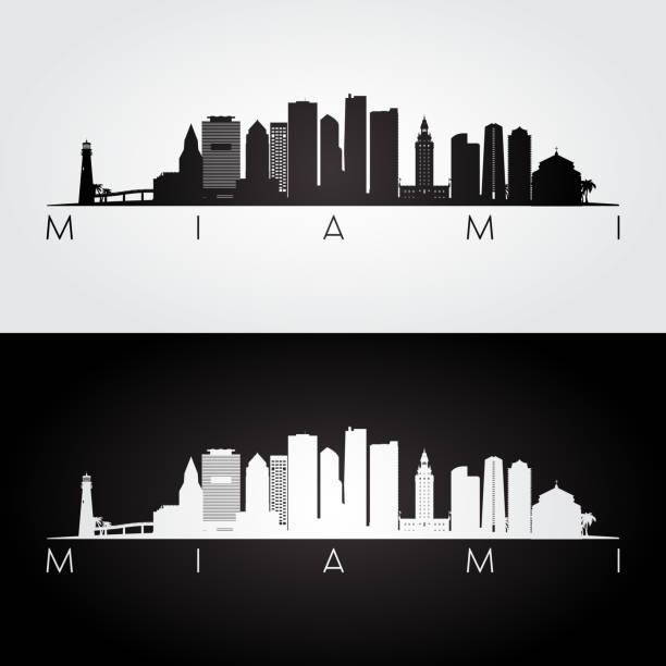 Miami skyline and landmarks silhouette, black and white design. Miami skyline and landmarks silhouette, black and white design. miami stock illustrations