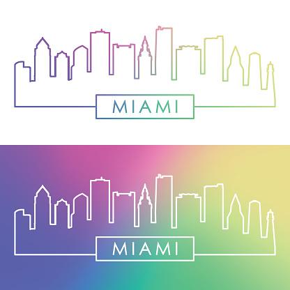 Miami skyline. Colorful linear style. Editable vector file.
