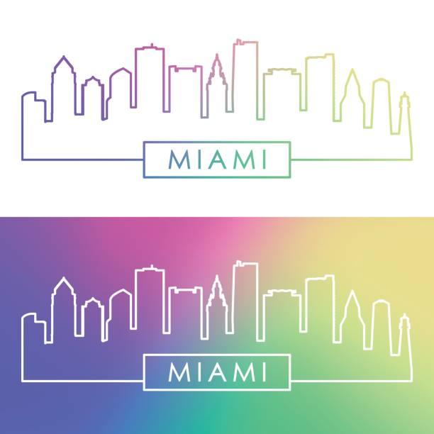 Miami skyline. Colorful linear style. Editable vector file. Miami skyline. Colorful linear style. Editable vector file. miami stock illustrations