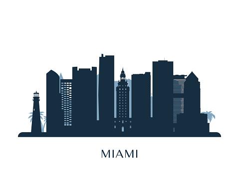 Miami skyline, monochrome silhouette. Vector illustration.