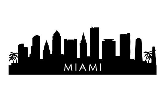 Miami skyline silhouette. Black Miami  city design isolated on white background.