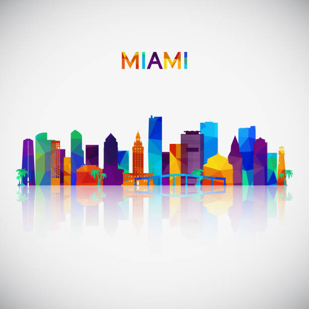 miami skyline silhouette in colorful geometric style. symbol for your design. vector illustration. - деловой центр города stock illustrations