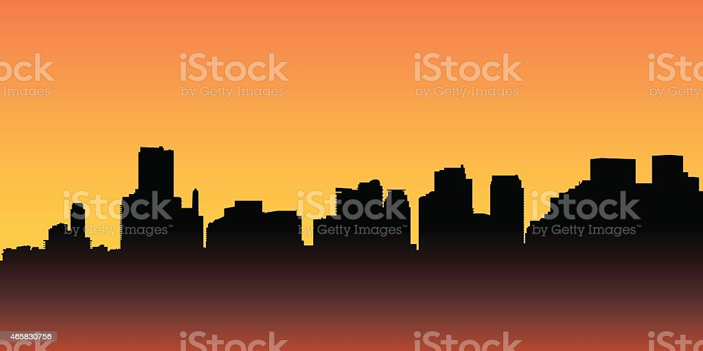 Miami Skyline Silhouette vector art illustration