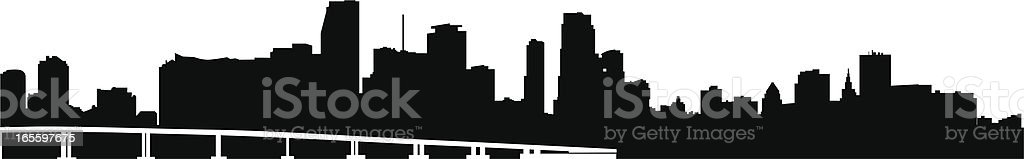 Miami Skyline royalty-free miami skyline stock vector art & more images of back lit