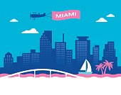 Miami Florida USA skyline concept illustration.