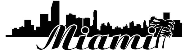 Miami skyline Vector vector art illustration