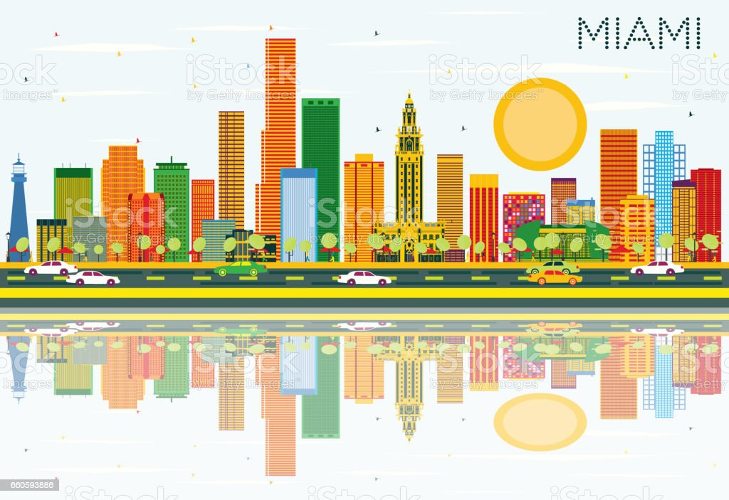 Miami Skyline with Color Buildings, Blue Sky and Reflections. royalty-free miami skyline with color buildings blue sky and reflections stock vector art & more images of abstract