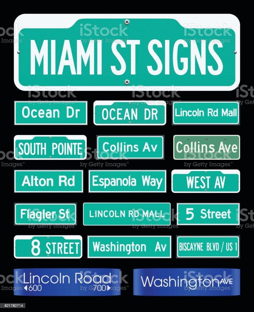 Miami street plates vector art illustration