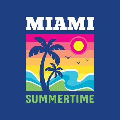 Miami summertime - badge design for t-shirt. Emblem in vintage style. Summer, sun, palm tree, sea wave. Vector illustration.