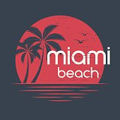 Miami sunset. T-shirt and apparel vector design, print, typography, poster, emblem with palm trees.
