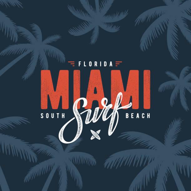 Miami surf blue Miami beach Florida tee print with palm tree. T-shirt design, graphics, stamp, label, typography. miami stock illustrations