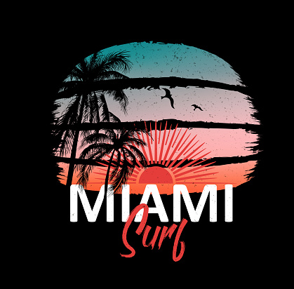Miami surf. Colorful poster with palm trees and sun. T-shirt print with inscription, summer design for youth, teenagers.