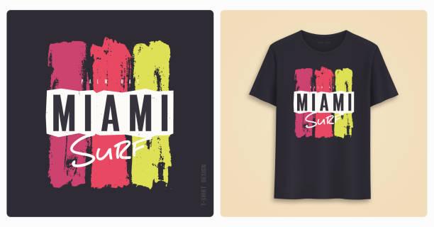ilustraciones, imágenes clip art, dibujos animados e iconos de stock de surf de miami. diseño gráfico t shirt, grunge estilo de impresión. - moda playera