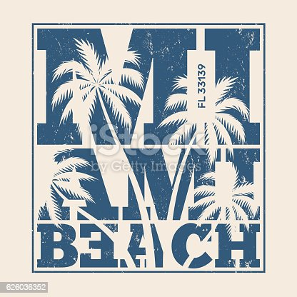 Miami tee print with palm trees. T-shirt design, graphics, stamp, label, typography.