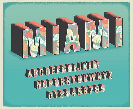 Miami tropical floral travel postcard font alphabet set