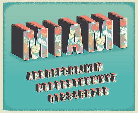 Vector illustration of a Miami tropical floral travel postcard font alphabet set. Easy to edit to customize your own headline or message. Includes vector eps and jpg in download.