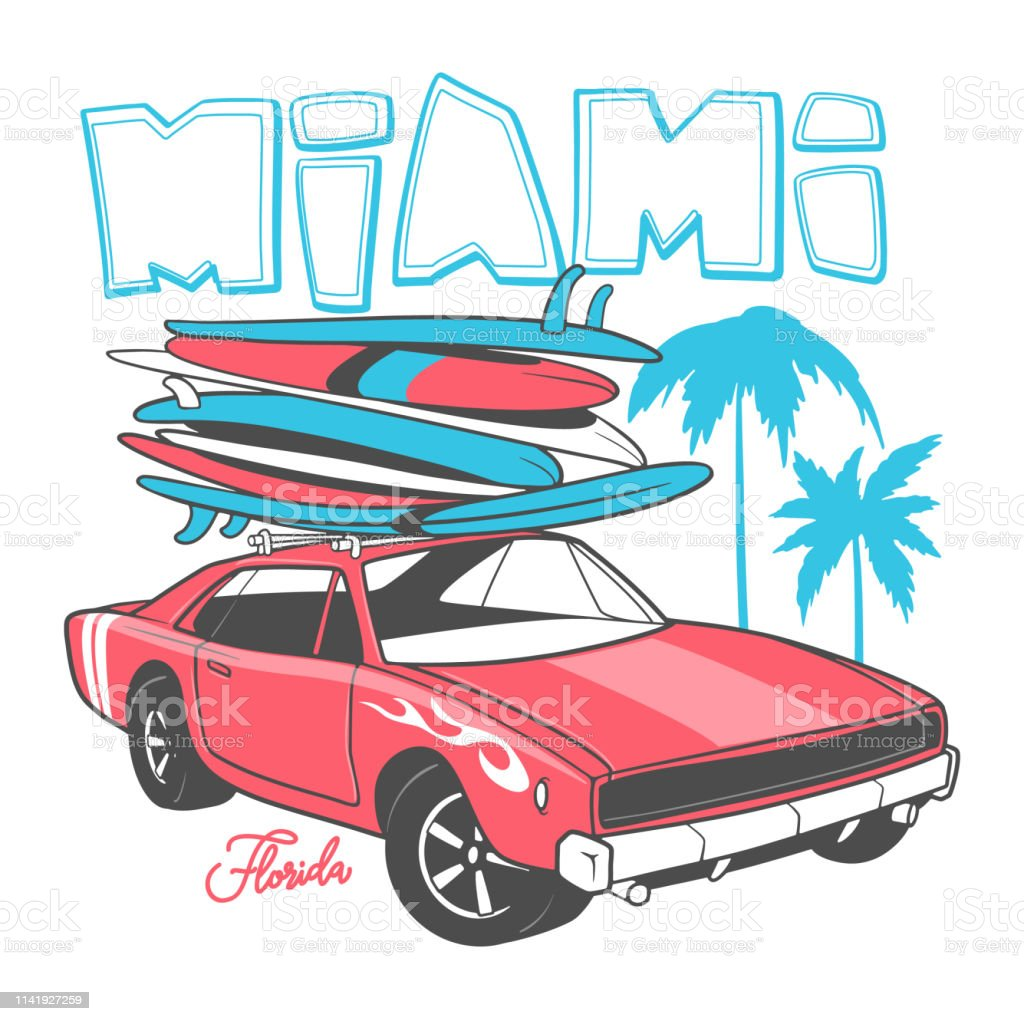 d6bf2cdd Miami typography for t-shirt print and Retro car with surfboard royalty-free  miami