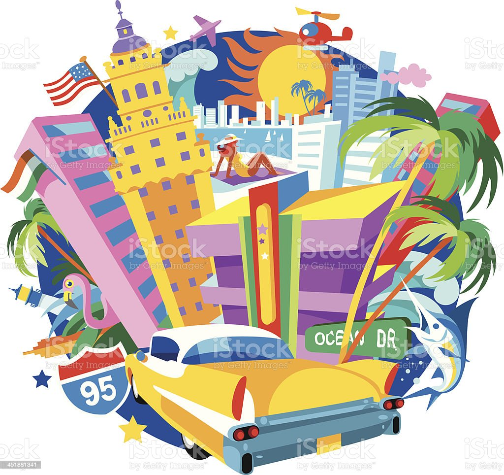 Miami vector art illustration