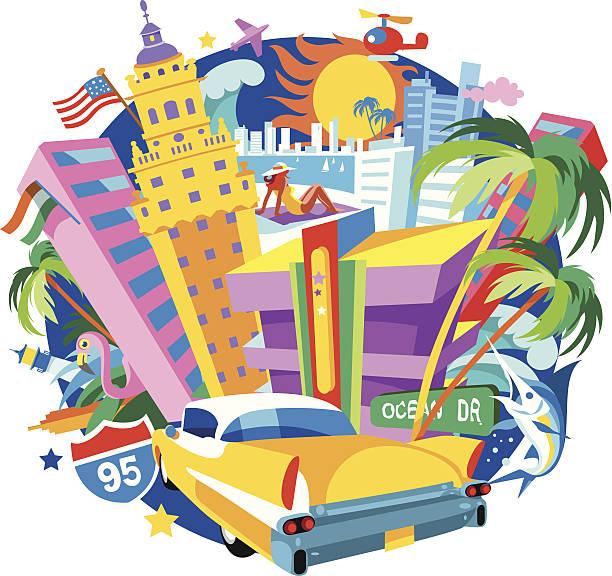 Miami cartoon skyline silhouette of Miami, Florida, USA art deco district miami stock illustrations