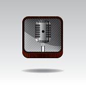 Microphone icon - vector metal app button