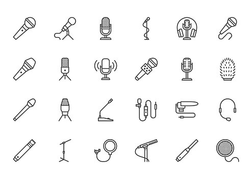 Mic flat line icons set. Podcast mike, journalist microphone, karaoke, conference, windscreen, retro radio vector illustration. Outline pictogram for music store. Pixel perfect 64x64. Editable Strokes